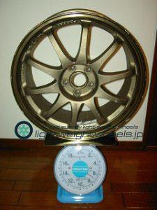 STi インプレッサS202 STi Version専用ホイール 17inch 7.5J offset+53mm PCD100mm-5H重量計測画像