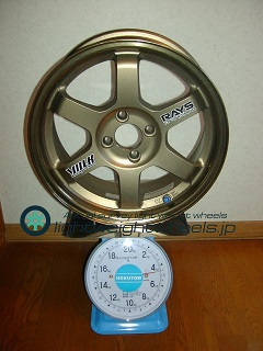 MG-F用 TE37 15inch 6.5J offset+28mm PCD95.25mm-4H重量計測画像