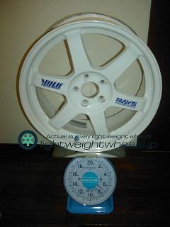 RAYS VOLK Racing TE37 17inch 7.5J offset+48mm PCD100mm-5H 重量計測画像