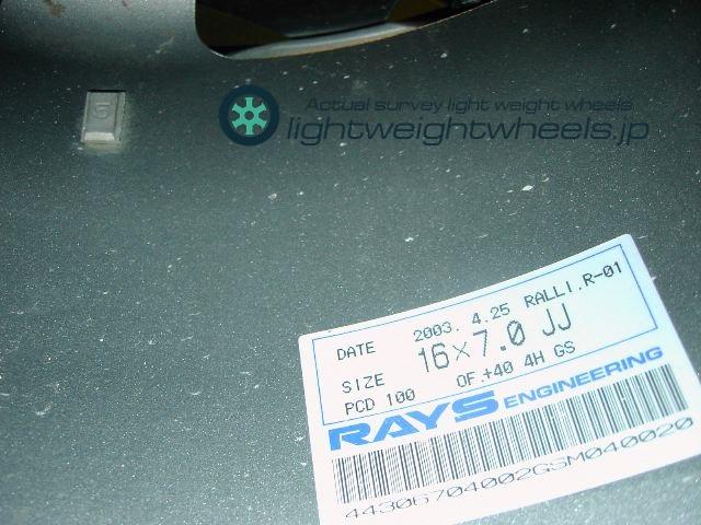 RALLIART Evolution R-01 16inch 7J offset+40mm PCD100mm-4Hサイズ表記画像