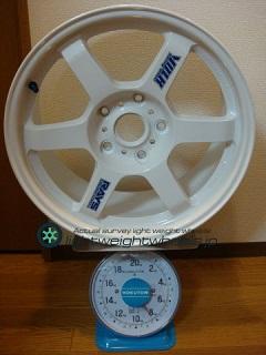 RAYS VOLK Racing TE37 18inch 8.5J offset+34mm PCD130mm-5H 重量計測画像