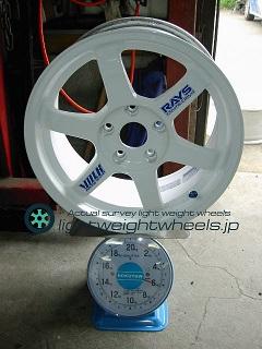 RAYS VOLK Racing TE37 16inch 8J offset+38mm PCD114.3mm-5H重量計測画像