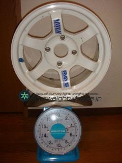 RAYS VOLK Racing TE37 14inch 6.5J offset+0mm PCD114.2mm-4H 重量計測画像