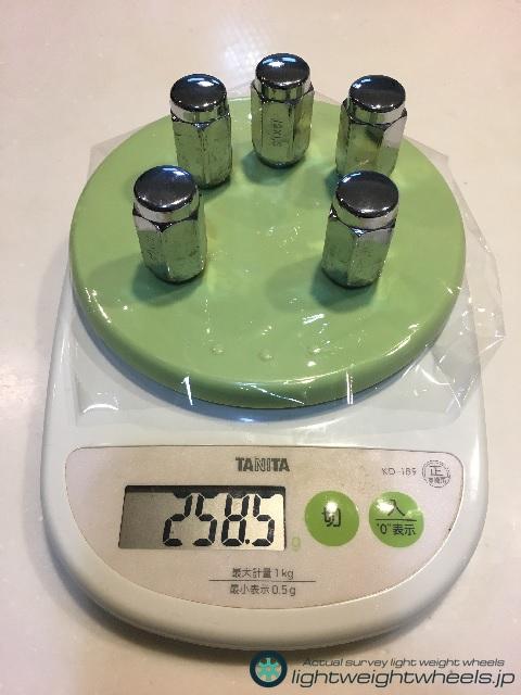 ホイールナット5個の重量計測画像